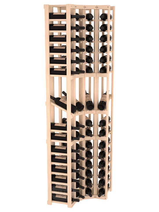 Wine Racks America® - 4 Column Display Cellar Corner in Pine - Unique corner wine racks obtain maximal storage capacity with style. Display 4 coveted vintages without sacrificing proper wine storage. We back the quality of every rack with our lifetime warranty. Designed with emphasis on functionality, these corner racks fit seamlessly into our modular line of wine racks.