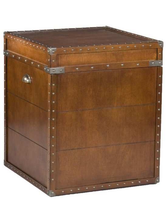 Holly & Martin - Holly & Martin Bristol Trunk End Table - Lid opens for storage. Antique brass hardware. Made from MDF and veneer. Assembly required. 20 in. W x 20 in. D x 23.5 in. H (62.85 lbs.). Assembly InstructionCrafted with a replicated antique look, this steamer trunk side table is ideal as a decorative, yet functional accent. Whether it's placed in your living room or bedroom, the convenient storage under the lid is sure to help clear the clutter. The rich walnut finish is accented with antique brass rivets along the trim. The lid opens with the help of progressive hinges that prevent slamming. This classic styled trunk is a great solution for your home.