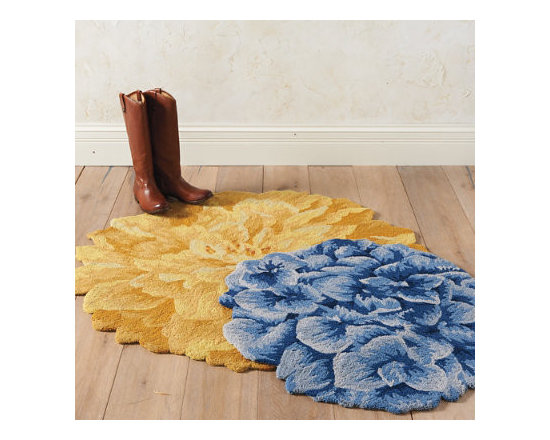 Grandin Road - Bouquet of Blooms Rug - Round rugs in the shape of a single glorious bloom with rich details of petals. Hand-hooked loop construction using high-density poly-acrylic fibers. Clean spills immediately by blotting with a clean sponge or cloth. Professionally clean only. Rug padding is recommended (see our nonslip rug grips). Blue Hydrangea, Yellow Peony, and Beige Mum-we took three of the most distinguished flowers and turned them each into a single blooming rug. Each round rug boasts rich details of petals in full bloom and is designed from the bird's eye perspective.  .  .  .  .  . Imported .