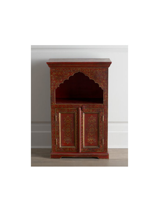 Horchow - Fuchsia Blossom Chest - Exquisite, slightly antiqued door chest exudes the flair for color and love for lotus flowers and gold in its native India. For added drama, the elaborately carved window opening on the shelf resembles a curtain rising on a stage. Handcrafted of selec...