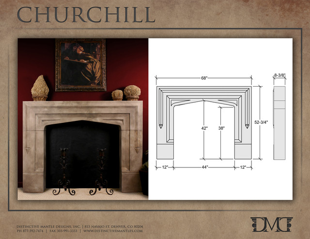 Churchill Stone Mantel by Distinctive Mantel Designs, Inc. traditional-indoor-fireplaces