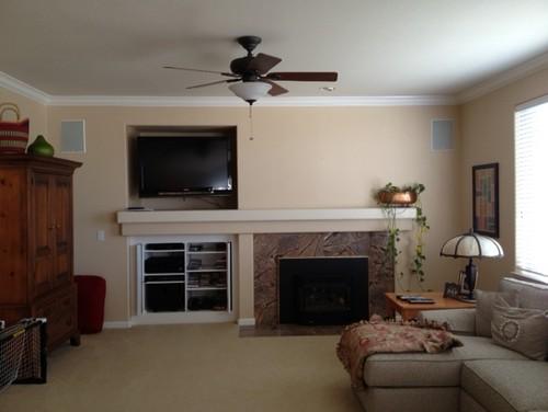 Fireplace Wall TV Niche Remodel Ideas