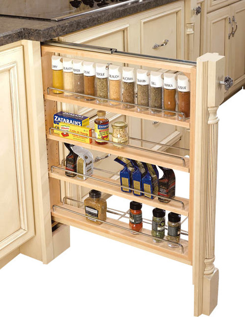 3-Inch Wood Base Cabinet Pullout Filler with Adjustable Shelves - Contemporary - Kitchen Drawer ...