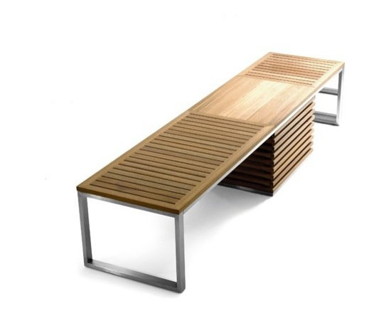 Jane Hamley Wells - Jane Hamley Wells | TAJI Bench with Storage - Designed by Kenkoon for Jane Hamley Wells.Kenkoon strikes at the heart of modern design, combining lightweight beauty with organic utility.  The TAJI Bench with Storage appears to be designed with a stripped-back approach for its own sake, but such a design allows this storage-bench to feel as though it is adding space to a room, rather than taking it away.   Furthermore, the stainless steel legs and wheels and superior-quality teak body are sure to weather the toughest sun and coolest rain.