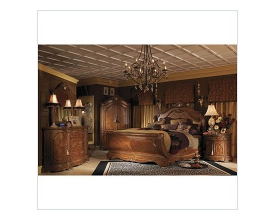 AICO Furniture - Cortina Wood Sleigh Bed 3 Piece Bedroom Set in Honey Walnut - N - Nightstand made of Birch solids with Cherry and Mapa Burl veneers