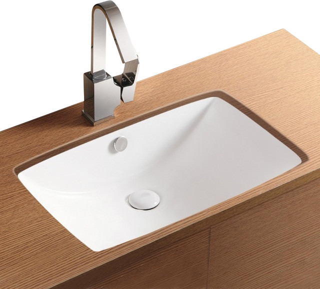Rectangular white ceramic undermount bathroom sink no hole contemporary bathroom sinks by for White rectangular undermount bathroom sink
