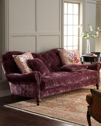 Old Hickory Tannery Tufted Velvet Sofa Traditional