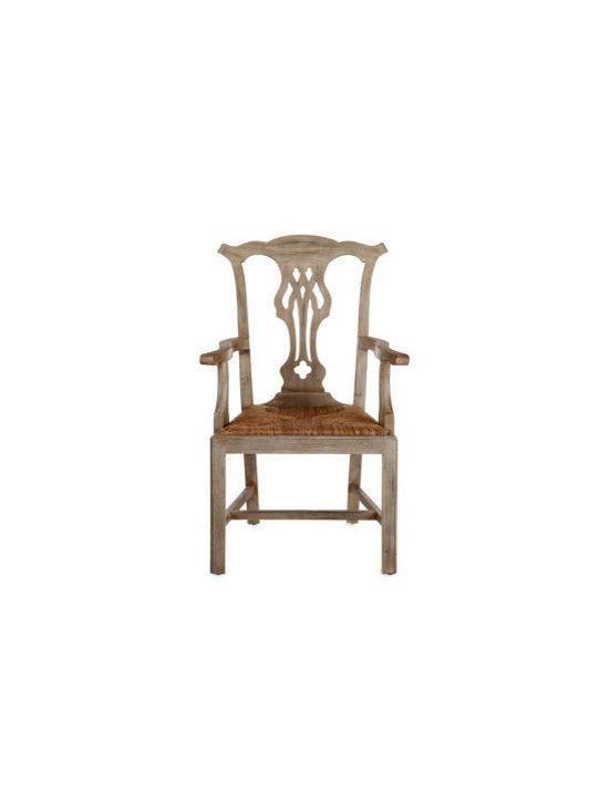 """Two """"Country"""" Armchairs - A pierced back splat and a hand-woven rush seat add character to this wooden armchair. Imported."""