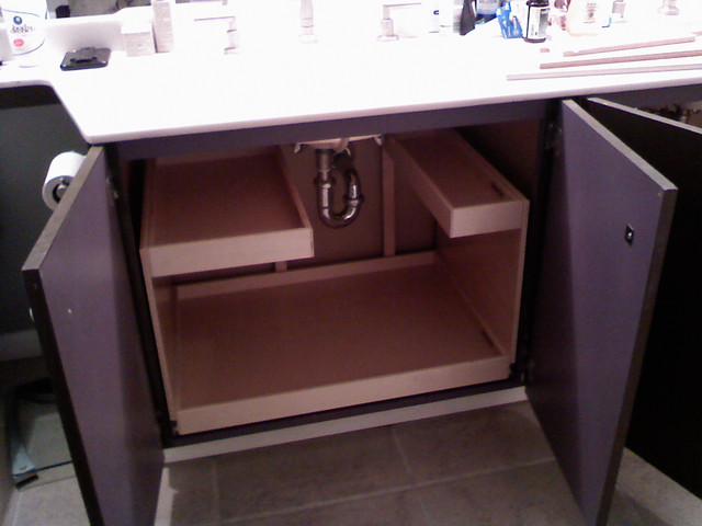 Pull Out Shelves with Risers bathroom-cabinets-and-shelves
