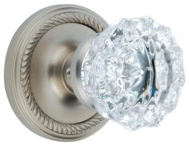 Nostalgic Warehouse Knob. Rope with Crystal Rose Satin Nickel Passage Knob 70172 contemporary-cabinet-and-drawer-knobs
