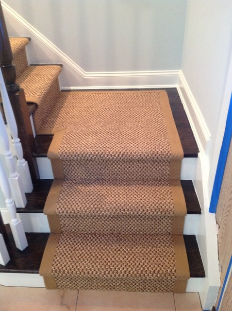 Custom Fitted Sisal Carpet Runner With Wide Binding