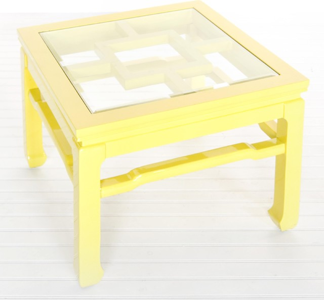 Worlds Away Wangright Yellow Lacquer Cocktail Table Traditional Coffee Tables By Candelabra