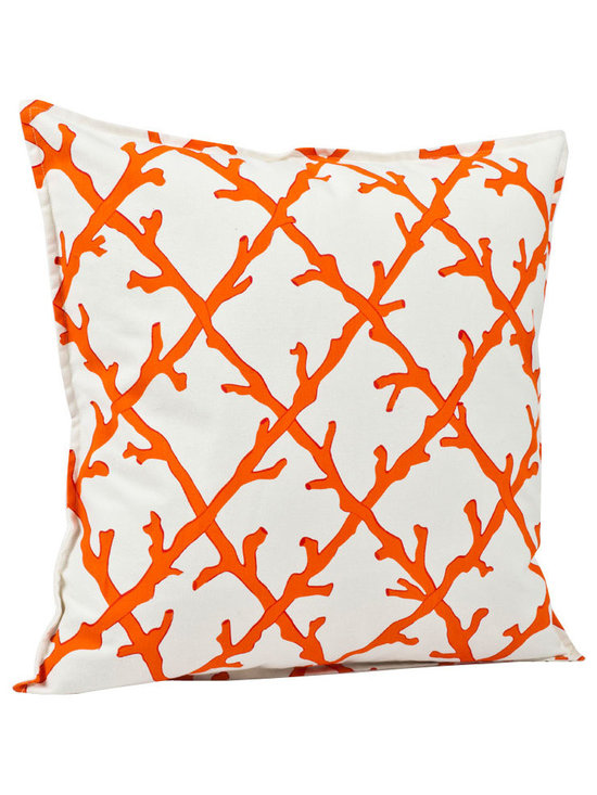 ecoaccents Orange Coral Lattice Cotton Canvas Pillow