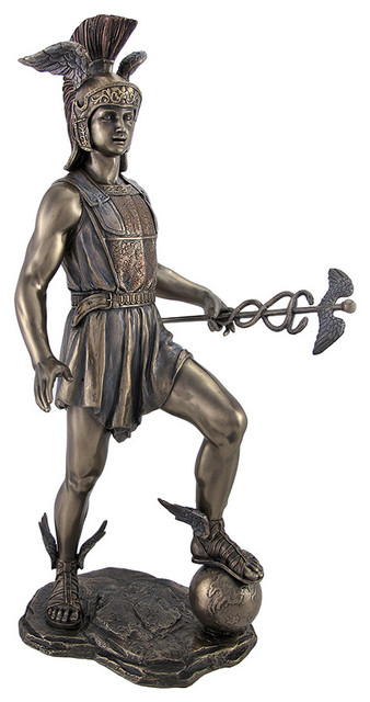 Greek God Hermes Stamping on the Earth Statue Bronzed Finish ...
