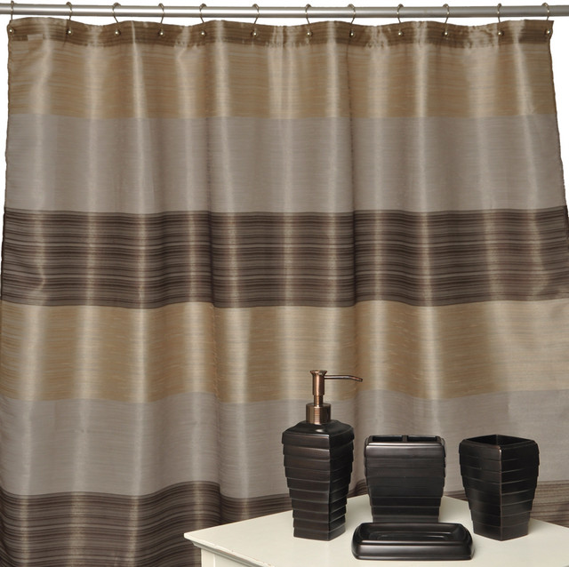 Alys Oil Rubbed Bronze Bath Accessory With Shower Curtain 4 Piece Set Contemporary Shower