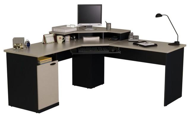 Bestar Hampton Corner Computer Desk-Sand Granite & Charcoal Multicolor - 69430-8 contemporary-desks-and-hutches