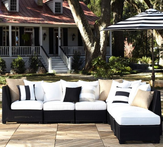 Palmetto All-Weather Wicker Sectional, Black modern outdoor sofas