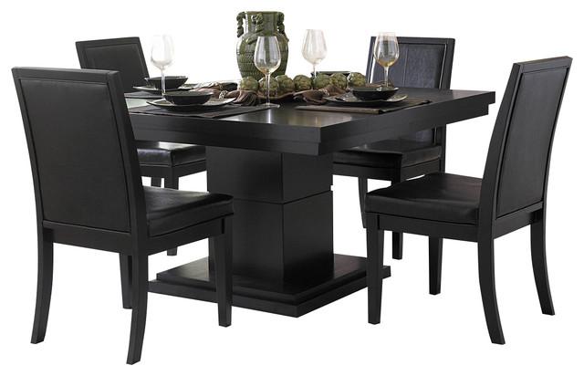 Homelegance cicero 3 piece dining room set in black for Traditional black dining room sets