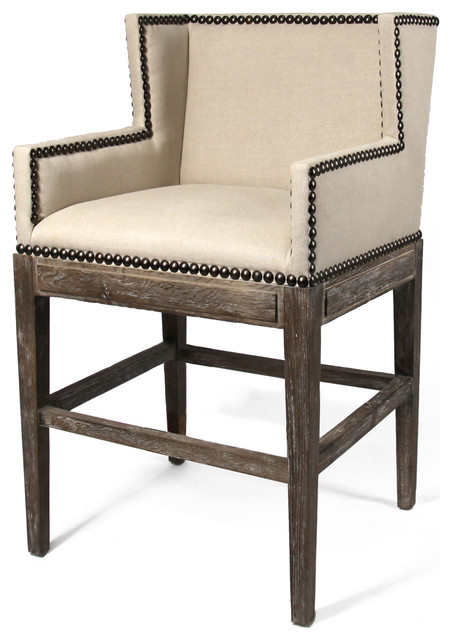 French Country Contemporary Nail Head Linen Counter Stool