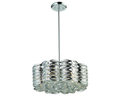 Five Light Chrome Drum Shade Crystal Chandelier traditional-chandeliers