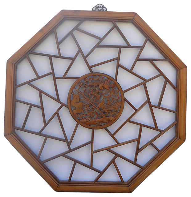 Chinese Octagon Bird Scene Geometric Wood Wall Decor Asian Artwork