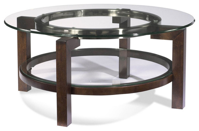 Bassett Mirror T1705 120 Oslo Round Glass Top Cocktail Table Contemporary Coffee Tables By