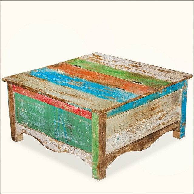 Rainbow striped square reclaimed wood coffee table storage chest eclectic coffee tables Coffee table chest with storage