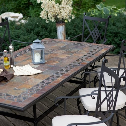 Palazetto Lucca 42 x 84 inch Mosaic Patio Dining Set