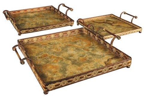 Square Matala Trays - Set of 3 traditional-serving-dishes-and-platters