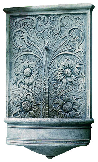 Sussex Garden Wall Water Fountain, Aged Limestone traditional-outdoor-fountains-and-ponds