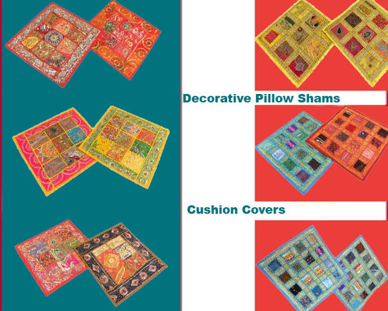 Indian Inspired Decor Cushion Covers - Decorate with your bedding bedroom with beautiful textures and patterns to a interior with our handmade sequined embroidered decorative Pillow sham cushion covers.