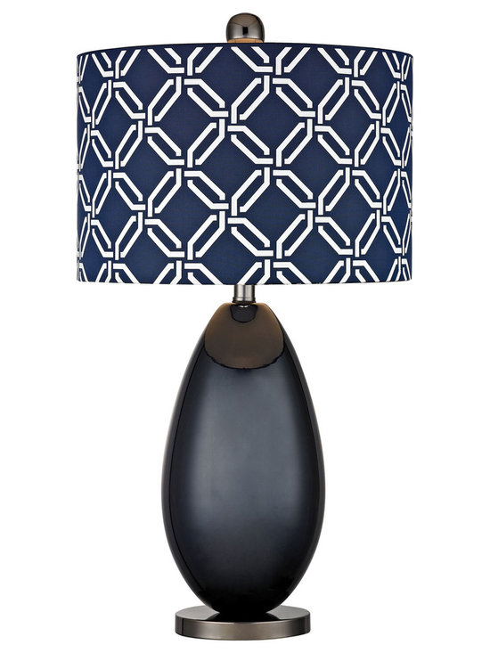 Dimond Lighting - Seven Oakes Table Lamp - Seven Oakes Table Lamp features a Navy Blue/White patterned shade with a Navy Blue finish. Available with  LED and incandescent lamp options. LED: One 9.5 watt, 120 volt  800 lumen 3000K 80 CRI LED type medium base bulb is included. Incandescent: One 150 watt, 120 volt A19 3-Way type medium base incandescent bulb is required, but not included.  13.5 inch width x 25 inch height.
