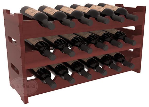 18 Bottle Mini Scalloped Wine Rack in Redwood, Cherry Stain + Satin Finish contemporary-wine-racks