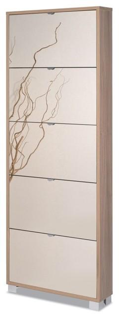 Shoe Rack with 5 Folding Single-Depth Mirrored Doors contemporary-shoe-storage