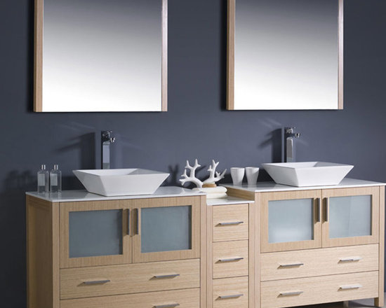 Fresca - Fresca 84 Light Oak Double Bathroom Vanity w/ Cabinet & Vessel Sinks - The Torino 84 vanity from Fresca features a Light Oak finish and frosted glass panels for a smart, modern look to any bathroom. Supplied with the side cabinet, this robust and durable vanity incorporates plenty of essential storage space for toiletries and bathroom linen. This vanity also comes complete with the ceramic vessel sinks, which add a chic, spa-style touch. Torino Bathroom Vanity Details:   Dimensions: Vanity: 83 1/2W x 18 1/8D x 35 5/8H, Side Cabinet: W 12 x D 17.75 x H 28.13 Material: Plywood with Veneer, ceramic vessel sinks Finish: Light Oak Please note: faucets not included