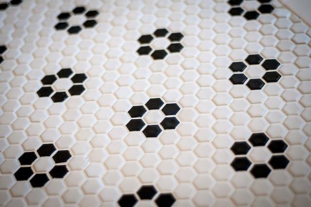 Glazed Ceramic Hexagon Tile Black And White Rose Pattern