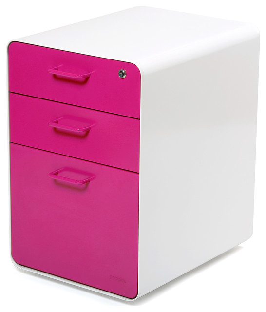 West 18th File Cabinet, White/Pink - Contemporary - Filing Cabinets