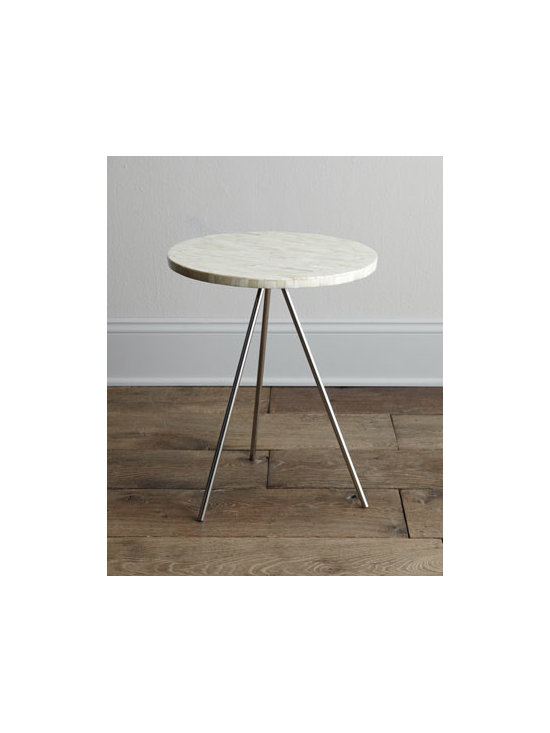 """Regina-Andrew Design - Regina-Andrew Design """"Bryn Mawr"""" Side Table - The perfect marriage of industrial-chic with exotic glamour, this simple tripod table features sleek metal legs and a bone-veneer top for a look that works with nearly any decor. Made of metal and wood with bone-tile veneer. 16""""Dia. x 21""""T. Imported...."""