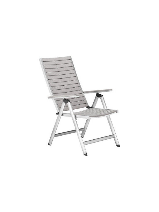 Grandin Road - Urban Outdoor Reclining Chair - Outdoor reclining chair of gray polyutherene. Slotted back. Simple assembly; hardware included. Put your plans for an ultra relaxing open-air escape in motion with our Urban Outdoor Reclining Chair. Smooth and sleek, its gray tone gives it a high-tech, contemporary look. Sit straight up, or lean back and relax, knowing that this outdoor chair will embrace you in comfort.  .  .  . Imported.