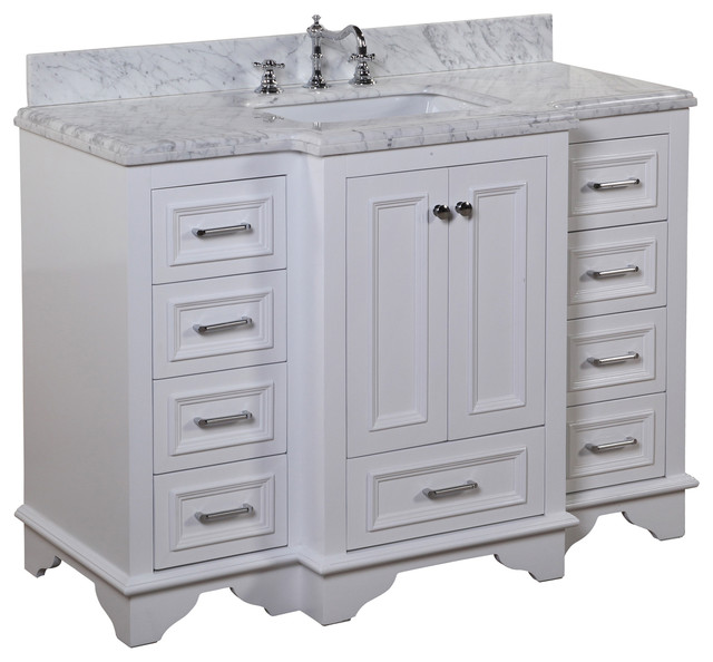 nantucket 48 in bath vanity carrara white transitional