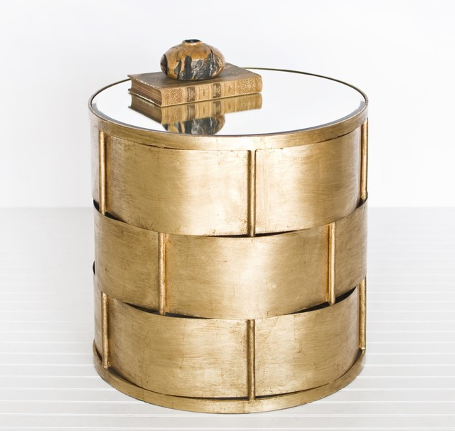 Worlds Away Davis Basket Weave Side Table In Gold Leaf eclectic-side-tables-and-accent-tables