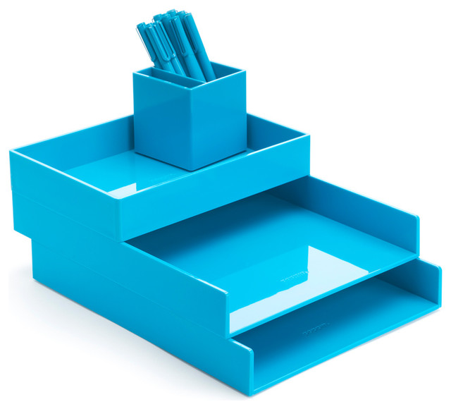 desktop set pool blue contemporary desk accessories