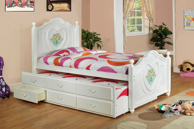 $684 Free Shipping~~ White Wood Girls Twin Captain Bed Platform Storage Trundle - Traditional ...