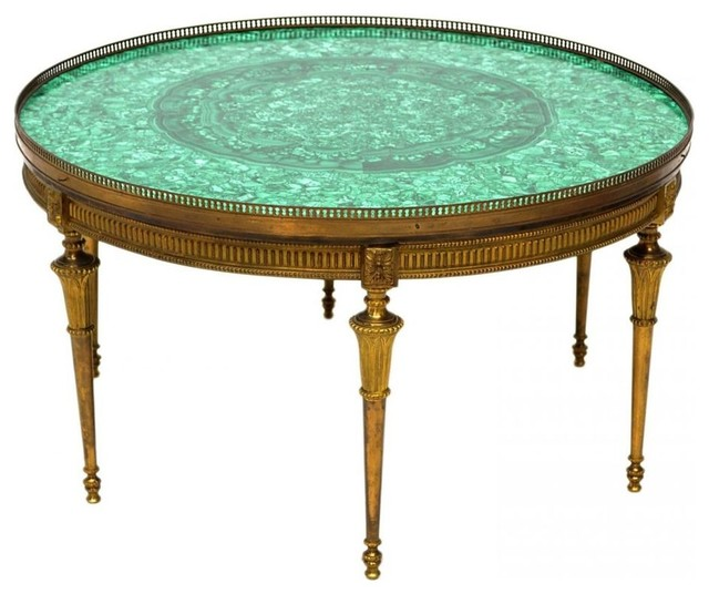 Vintage Malachite And Brass Round Coffeetable Eclectic