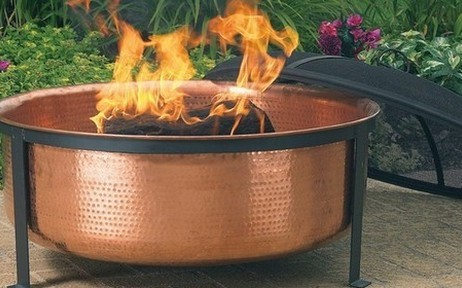 Hammered Copper Fire Pit modern firepits