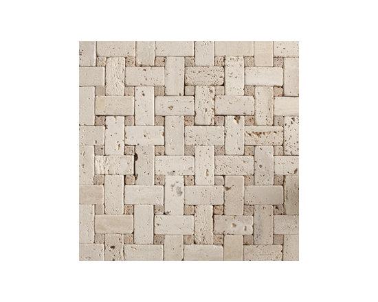 Lange Travertine with Noche Tumbled Basketweave Natural Stone Mosaic -