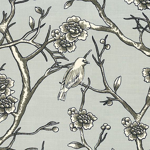 Gray Modern Chinoiserie Cotton Fabric - Contemporary - Upholstery ...