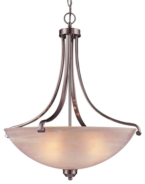 "Contemporary Paradox Brushed Nickel ENERGY STAR® 28"" H Pendant Light contemporary-pendant-lighting"