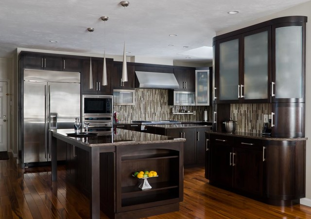 Walnut Contemporary Kitchen - modern - kitchen cabinets - boston