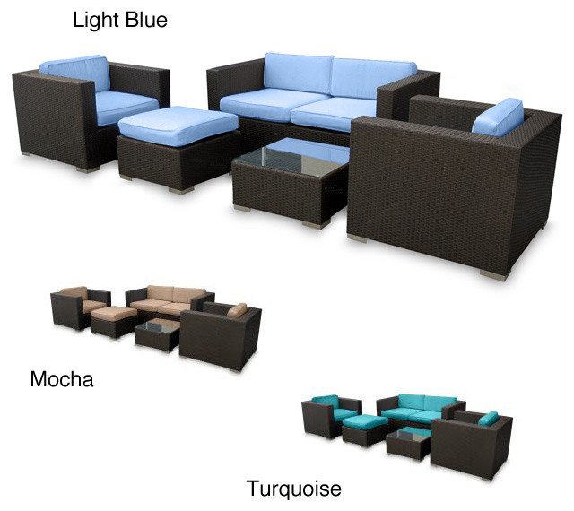 Malibu collection 5 piece wicker outdoor sectional set for Malibu outdoor sectional sofa